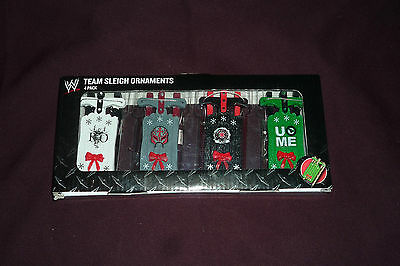 2012 Forever Collectibles WWE Wrestling 4pc Team Sleigh Ornament Set CM Punk++