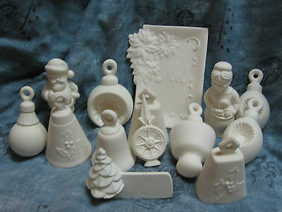 Christmas Tree Decoration Ornaments Set Of 25 Unfinished Ceramic Noel Tray Bell