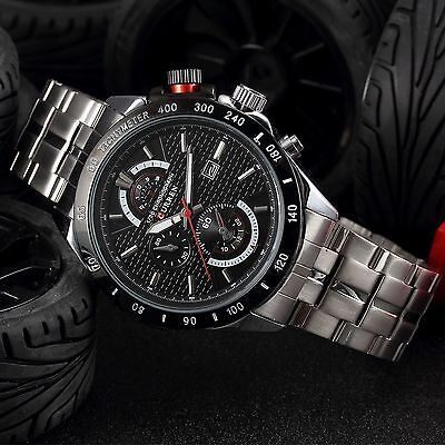 CURREN Luxury Men's Analog Quartz Date Stainless Steel Waterproof Wrist Watch