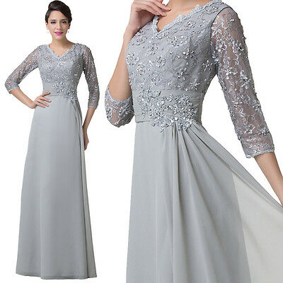 Grey VINTAGE Bride Mother LACE Dresses Long Formal Evening Bridesmaid Prom Gown