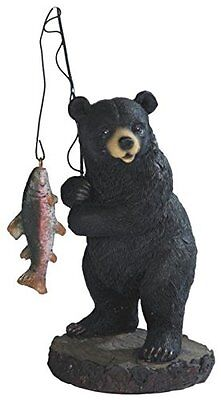 Black Bear Fishing with Fish on Pole Wildlife Animal Poly Resin Figurine Statue