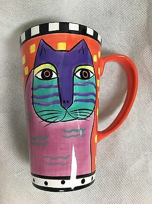 Laurel Burch Large Cat Coffee Cup Mug Design Studio Ceramic 1998