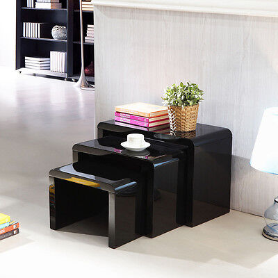 High Gloss Set of Three Black or Clear Curved Glass Nesting, Coffee, Side Tables