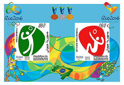 Djibouti 3 Sheets Volleyball Rio 2016 Olympic Games Jeux Olympiques Sports