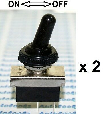 2 x 12V ON-OFF METAL TOGGLE SWITCH + WATERPROOF COVER cap car spot light caravan