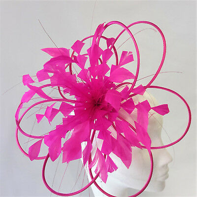 Cerise Feather Fascinator For Races, Proms , Weddings