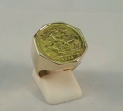 9Ct Gold Solid Back 1912 George V Half Sovereign Coin & Ring