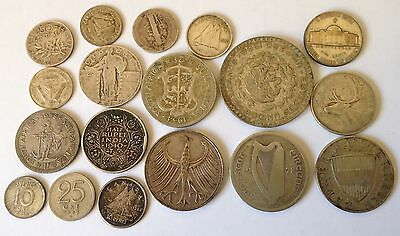 100.2 Gram Of World Silver Coins Collect Resell Scrap Silver Collection Bulk Lot