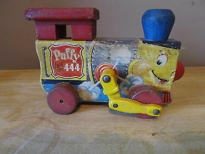 Vintage Fisher Price Wooden Pull Toy Train Engine~Puffy 444~Good Shape