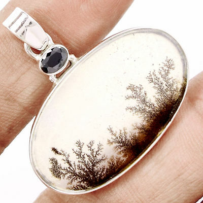 Gorgeous Scenic Dendritic Agate 925 Sterling Silver Pendant