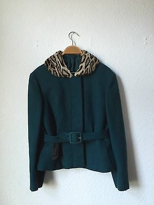 1960s Couture Suit Dark Green With Fur Collar