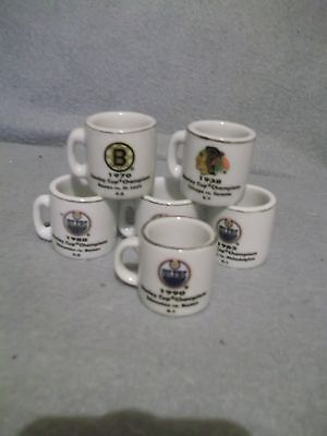 7 Stanley Cup mini mugs - 4 Edmonton Oilers 2 Boston Bruins Chicago Blackhawks