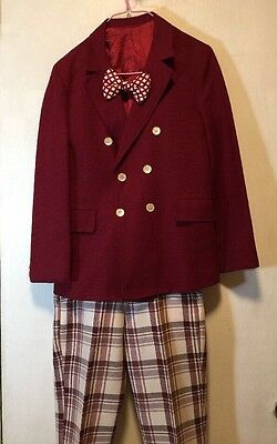 Vintage 70's Gator Of Florida Boys M Maroon Suit and Plaid Pants W/Bow Tie