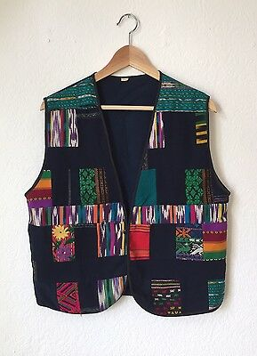 Vintage South American Quilt Vest 1970s Colorful Embroidered