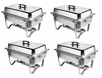 4 Pack Catering Stainless Steel Chafer Chafing Dish Set 8 Qt Full Size Buffet