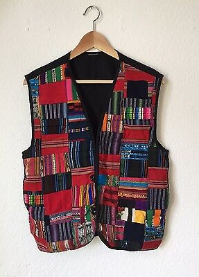 Vintage South American Vest Embroidered Colorful Quilted