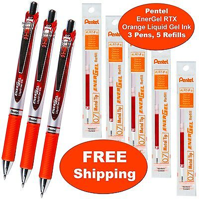 Pentel EnerGel RTX Orange Liquid Gel Ink, 0.7mm, 3 Pens with 5 Packs of Refills