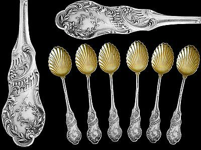 Rare French Sterling Silver 18k Gold Fruits Tea Coffee Spoons Set 6 pc Rococo