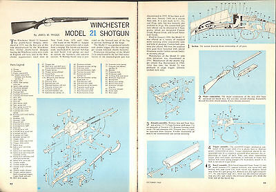 1963 2 Page Print Article Winchester Model 21 Shotgun Parts List & Disassembly