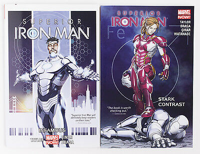 Superior Iron Man Vol. 1 & 2 Marvel Now Graphic Novel Comic Book Lot
