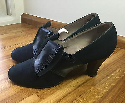 Original 1930s/1940s All Leather Ladies Shoes, Vintage Leather Shoes