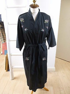 Oriental vintage  light weight poly/cotton black kimono gown/robe  & belt  M