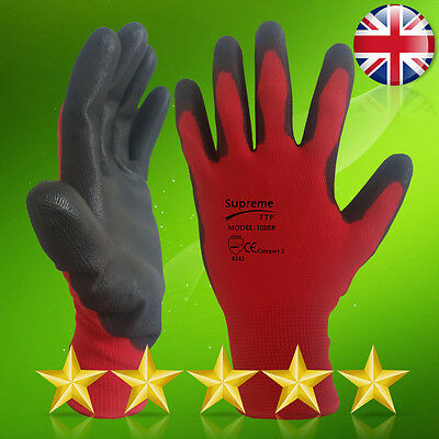 24 Pairs Red Black Nitrile Coated  Work Gloves Mechanic Builders Gardening Xl