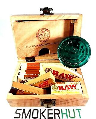 Raw Organic Hemp Gift Box Set - Magnetic Rolling Storage Box Papers Tips Grinder