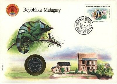 Malagasy  COVER with COIN in Pristine Condition