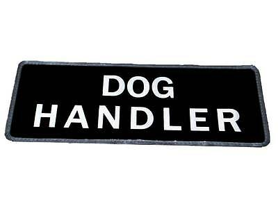 Black DOG HANDLER Reflective Badge (Small) for Police, Security, Officer Canine
