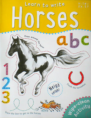 Horses Learn to Write children's wipe clean book new