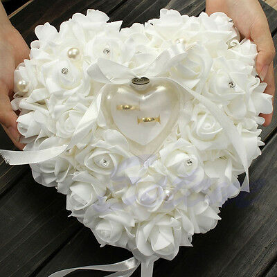 Wedding Ceremony Ivory Satin Crystal Flower Ring Bearer Pillow Cushion