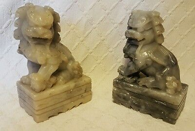 2 Small Soapstone Chinese Soap Stone Foo Dog