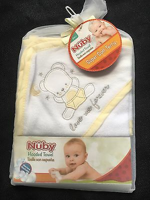 Nuby Soft White Yellow Terry Hooded Towel Love Me Bear Baby Shower Boys Girls