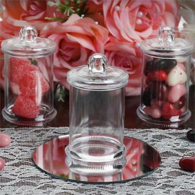 12 pcs 3 oz CLEAR PLASTIC Favor JARS with Lids Wedding Party Supply SALE