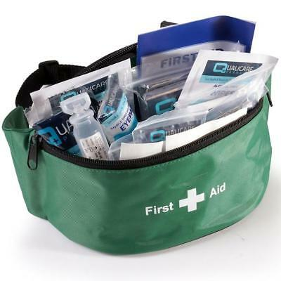 Green First Aid Bum Bag (KITTED) for Sports St John Medic Doctor First Aid Aider
