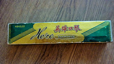 Vintage Hero Chinese Harmonica / 48 Holes / Wooden Frame