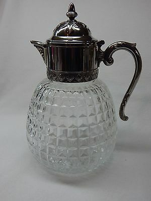 """Large Vintage  Pitcher Waffle Glass And Silverplate 13 1/2"""" Made In Italy"""