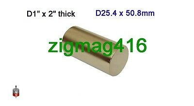 "1 pc of  Grade N52 D1"" x  2"" thick Rare Earth Neodymium Cylinder Magnets"