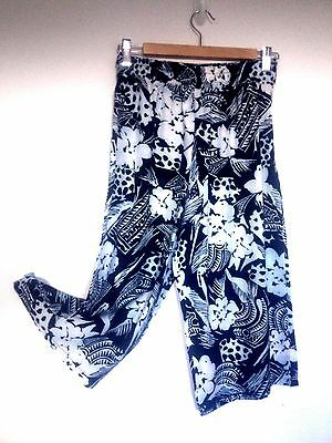 CLEARANCE Vintage 90s Black Floral Elasticated Culottes Holiday 10 12 Medium
