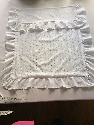 "white antique baby carriage coverlet cotton eyelet 23""x26"" plus 3 3/5 ruffle"