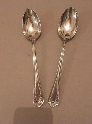 2 X Antique Cunard White Star Line Rms Silver Plated Spoons Chester Co