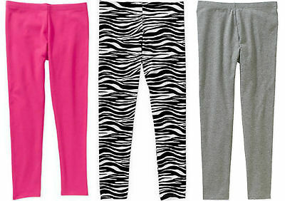 Faded Glory Girls Leggings Black, Pink, Gray, Animal Cotton Stretch S M L XL