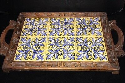 Vintage Mexican Carved Footed Tray w/ 6 Decorative Tile Inserts~Mexico~Hot Plate