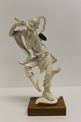 "DEPOSE ITALY - 8"" Resin Figure - Chinese, Flute, Oriental with Walnut Base & Tag"