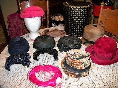 Vintage Lot of 11 Hats and Black & Gold Hat Box