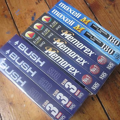 180 min 3 Hour Blank VHS tapes Cassettes x8 Bundle New Sealed Maxell Memorex etc