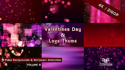 9 Video Backgrounds 4K / Love & Valentine Day / worship & holiday stock footage