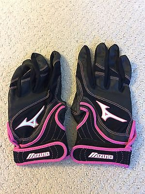 Mizuno Pair Youth Fast Pitch Batting Gloves Pink/Black Woman/girl Size W-L