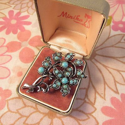 Vintage 1960s/70s Silvertone & Turquoise Beaded Floral Design Brooch Pin